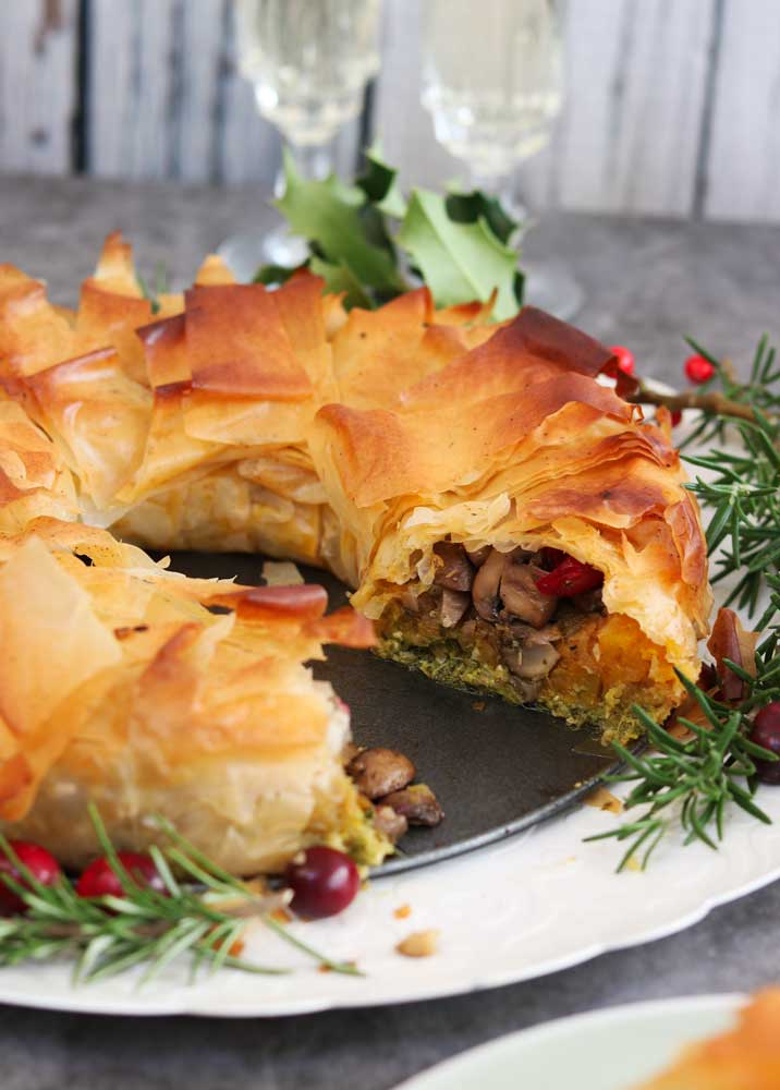 Christmas Dinner Pie Wreath with a slice taken out