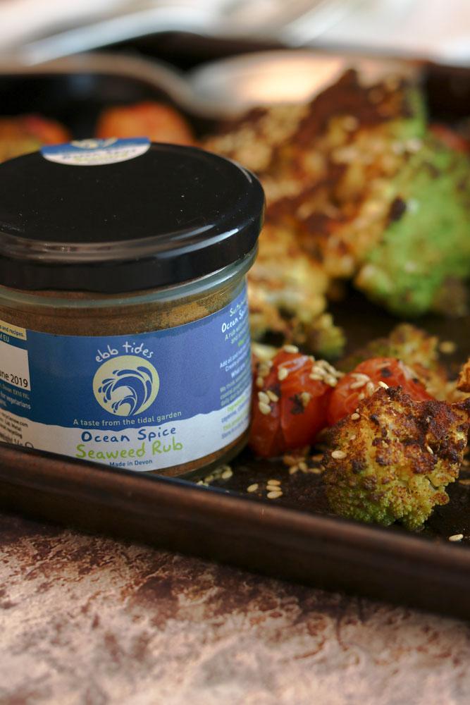 Ebb Tides Seaweed Rub with Romanesco Cauli bake