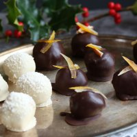 Trio of Vegan Christmas Chocolate Truffles, Orange, Vanilla & Pecan.
