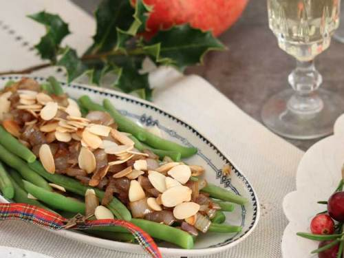 Green Beans with Caramelised Shallots and almonds on the Christmas table.
