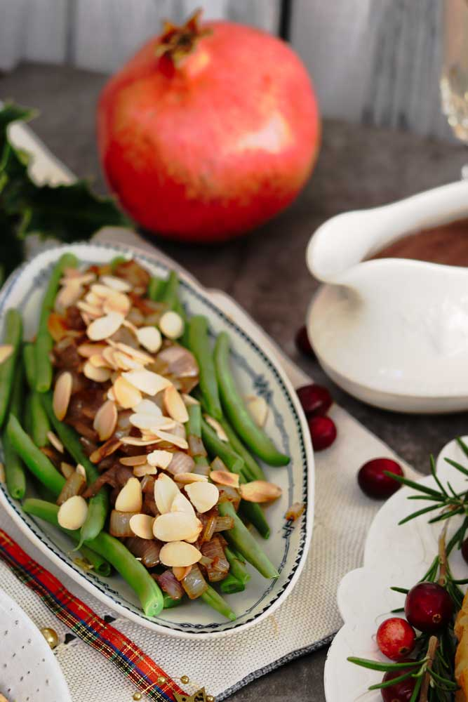 Green Beans and Caramelise Shallots on a plate