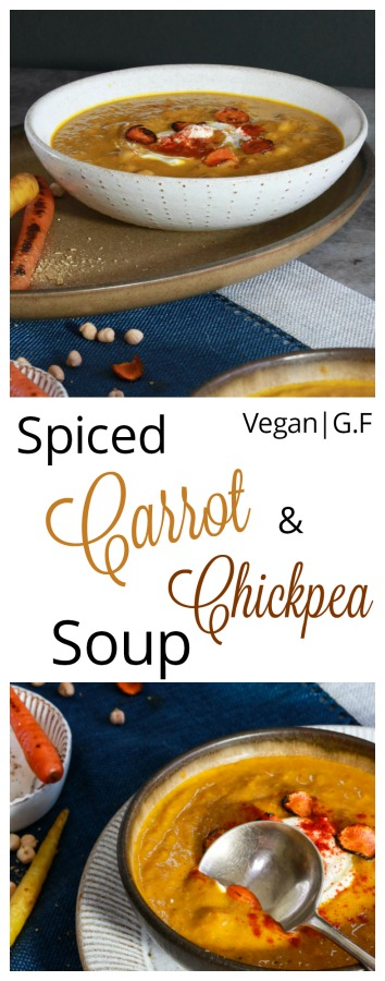Spiced carrot and chickpea soup pin