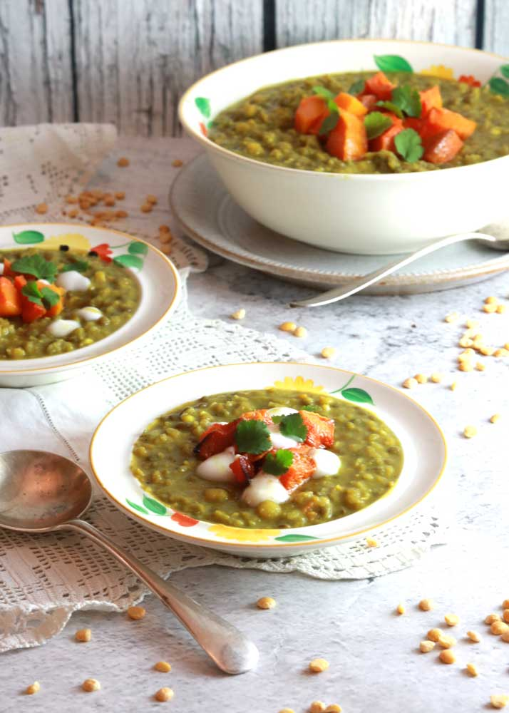 Butternut squash dal with plates
