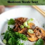 Hoisin Tofu Skin & Mushrooms Noodle Bowl for Pinterest
