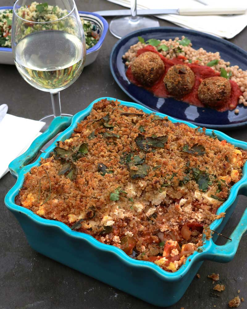 Greek style 'Feta' Casserole with Crispy Garlic Crust