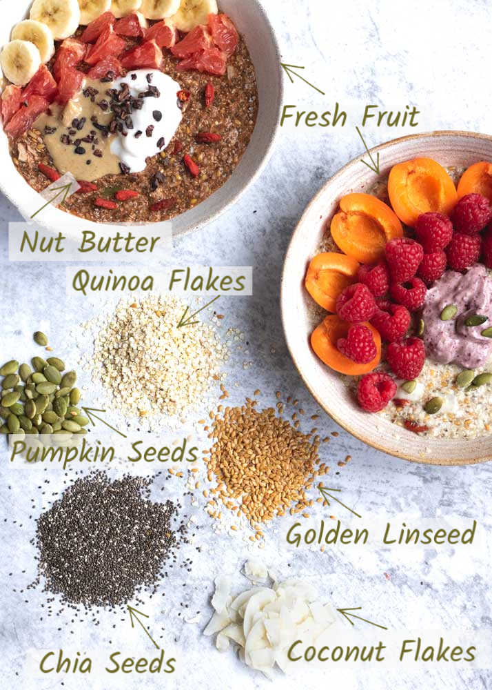 Vanessa's Protein Breakfast Bowl showing the ingredients in it