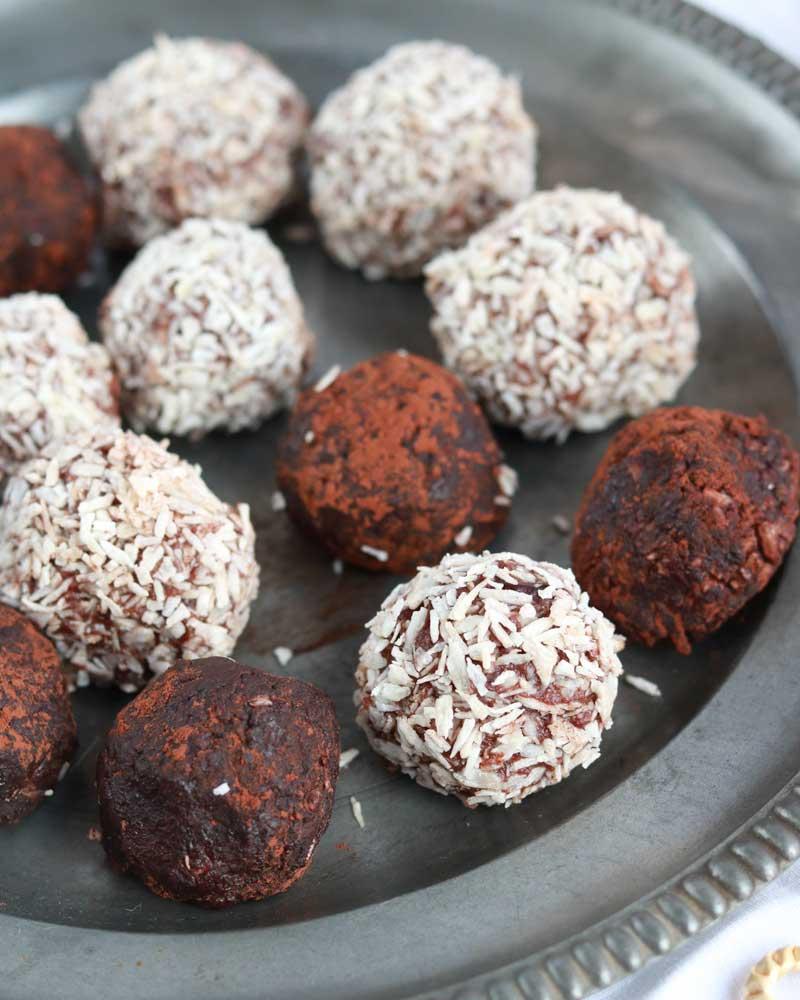 Rum balls on a platter
