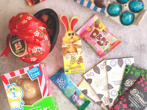 Vegan Easter chocolate treats lying next to each other including chocolate eggs