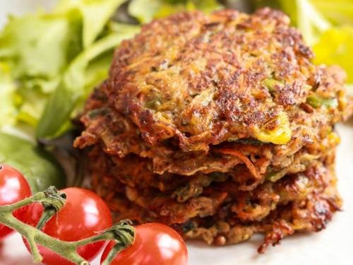 Vegan Vegetable Fritters in a stack