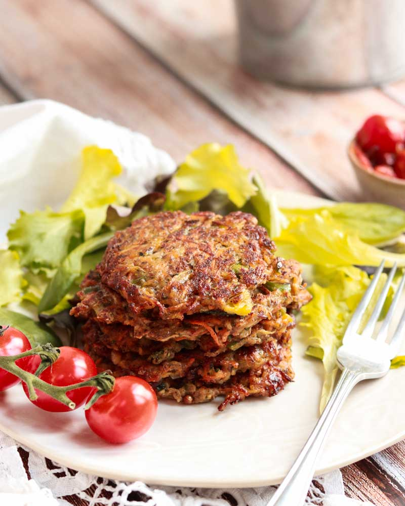 Veggie fritters on a plate.