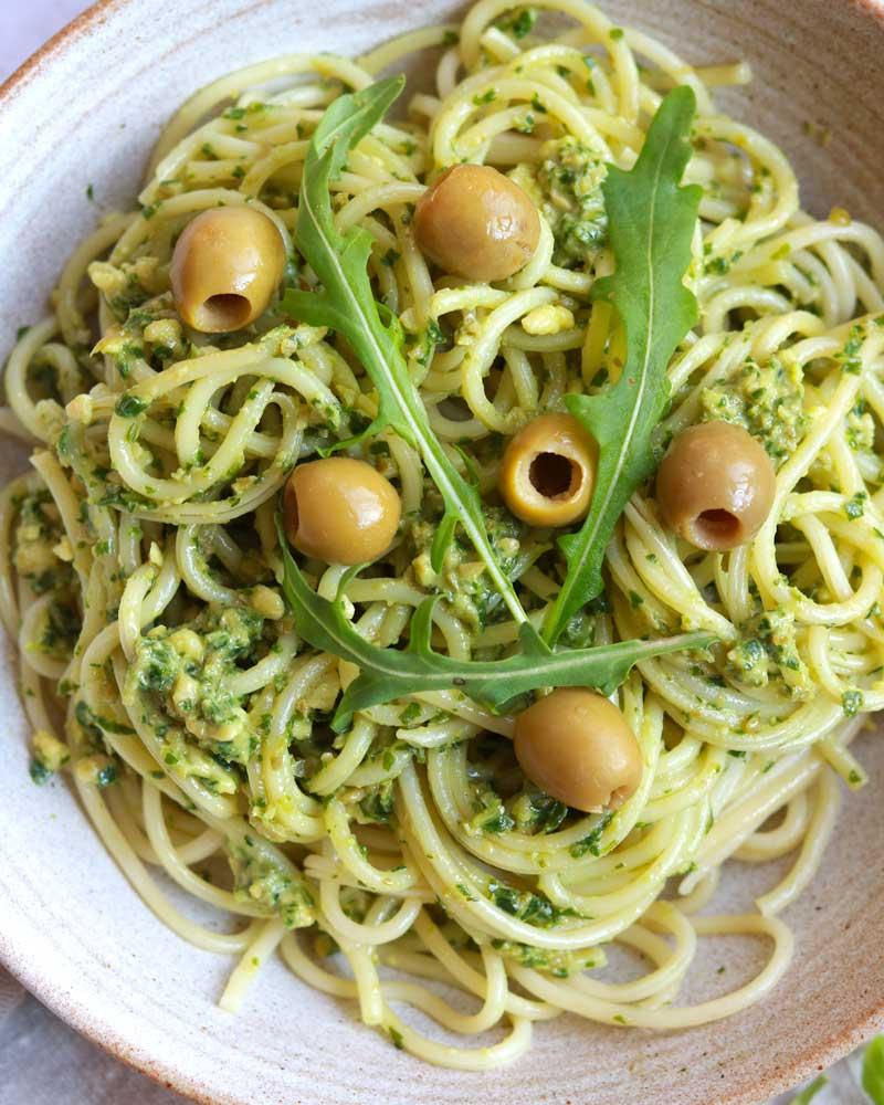 Chunky Rocket, Olive & Cashew Pesto dip in pasta