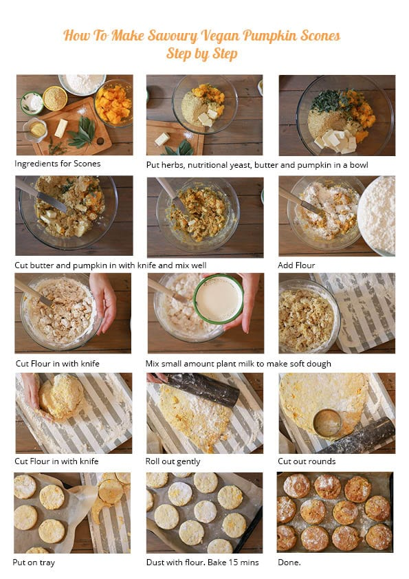 Step by step visual intructions for pumpkin scones.