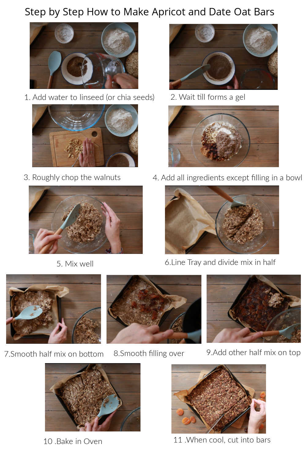 Step by step to make apricot, date and walnut bars