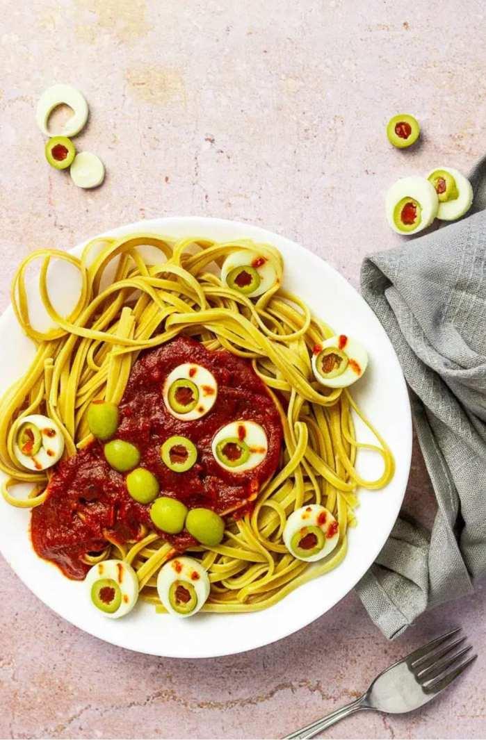 Spooky Spaghettie on a plate
