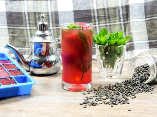 Moroccan Iced Tea with Beetroot Ice Cube
