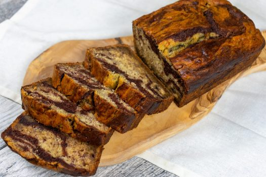 Coffee-Banana Marble Bread - The Vegan Rhino