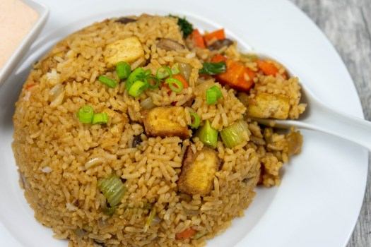 Vegetable Fried Rice (with Air Fryer Tofu) - The Vegan Rhino