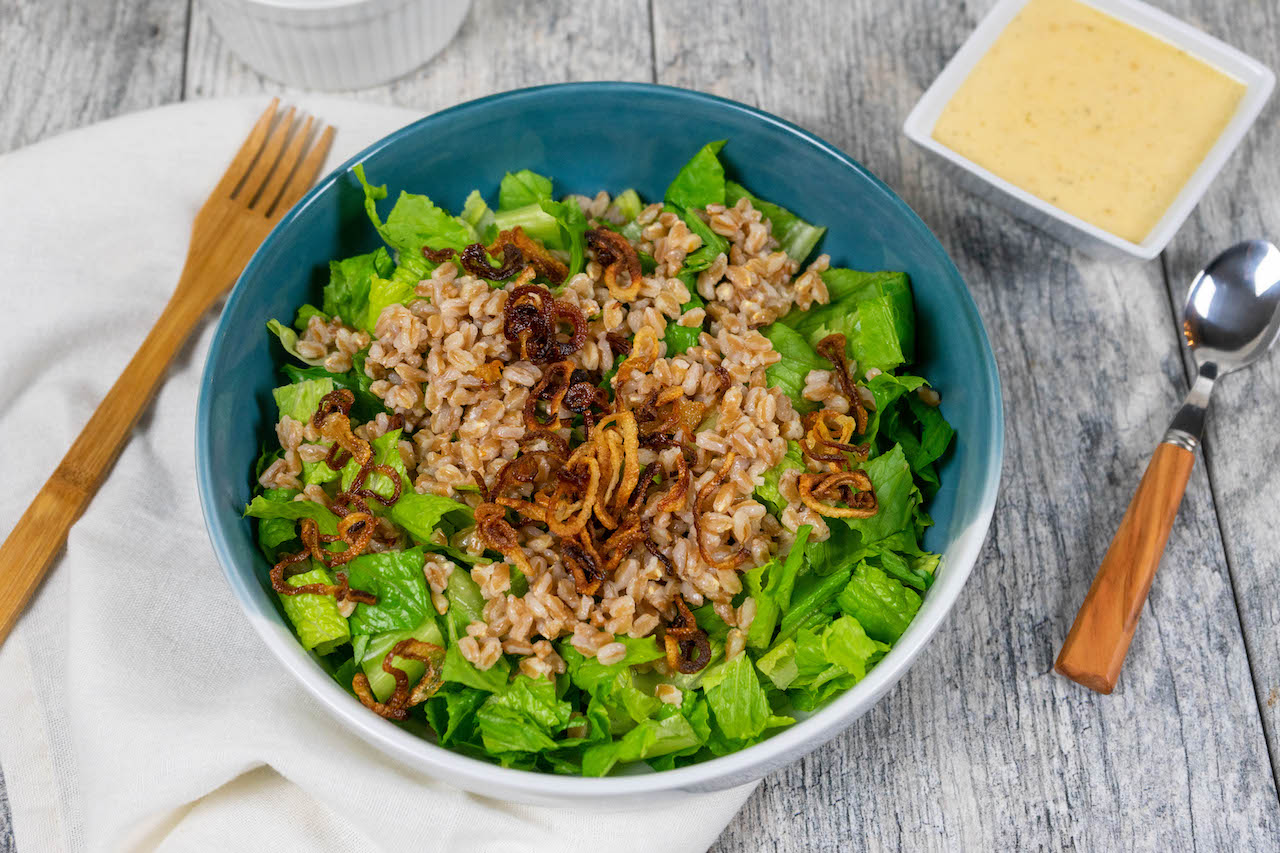 Crispy Shallot Farro Salad - The Vegan Rhino