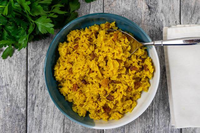 Golden Raisin Turmeric Rice - The Vegan Rhino