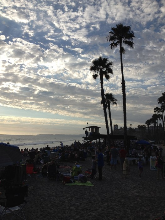 Watching the sunset at the San Clemente Beach while listening to the CCR Cover Band