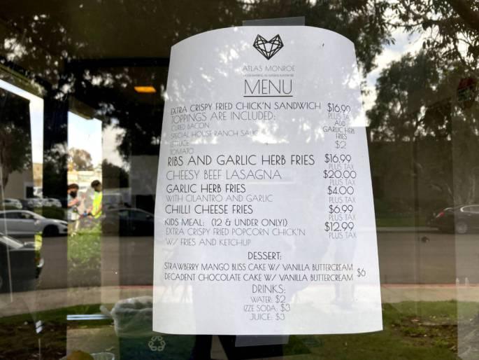 Atlas Monroe Vegan Fried Chicken Menu Printed on White Paper in San Diego