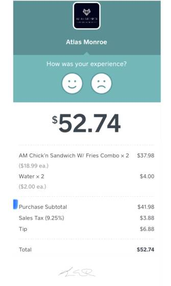 Digital receipt for Atlas Monroe vegan meal, $52.74 total for 2 combos with water.