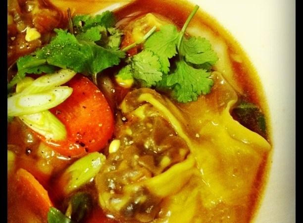 Vegetarian wonton soup for you!