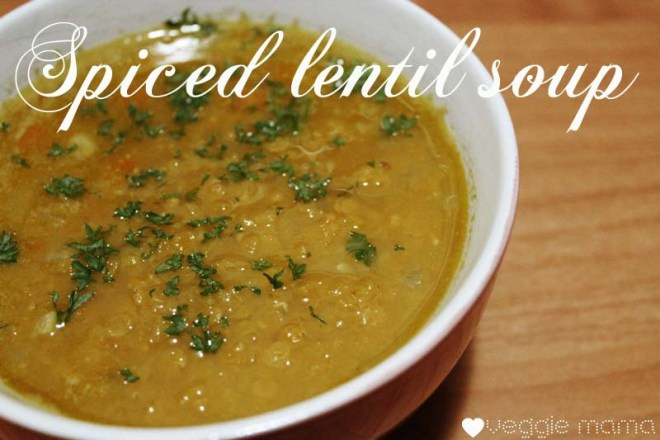 Vegetarian Soup: This spiced lentil soup is so easy to make - the list of ingredients seems long but it comes together pretty quickly. So delicious.
