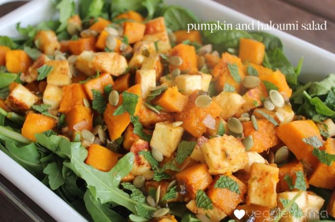 Pumpkin and haloumi salaid with honey jalapeno dressing recipe | veggie mama