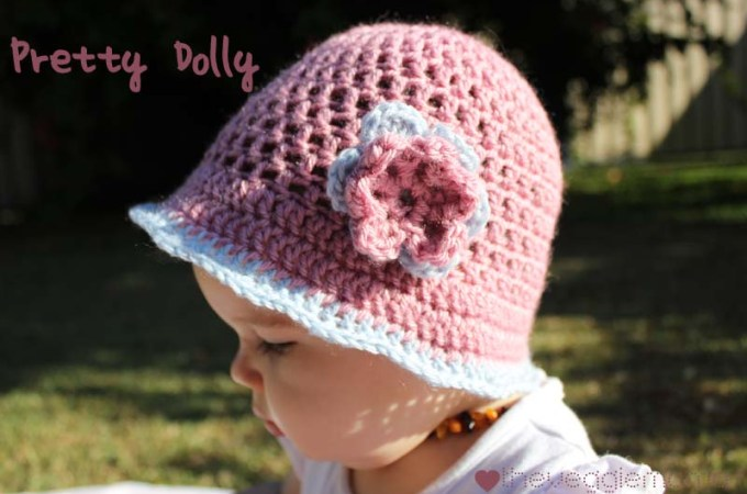 Free crochet pattern – Pretty Dolly baby girl hat