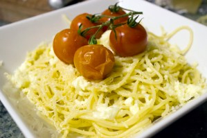 Spaghetti with roasted heirloom tomatoes