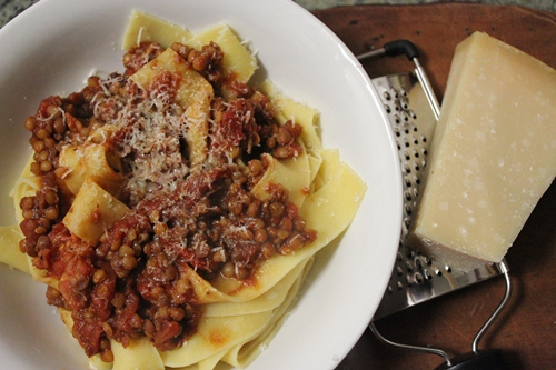 lentil and balsamic tomato pappardelle