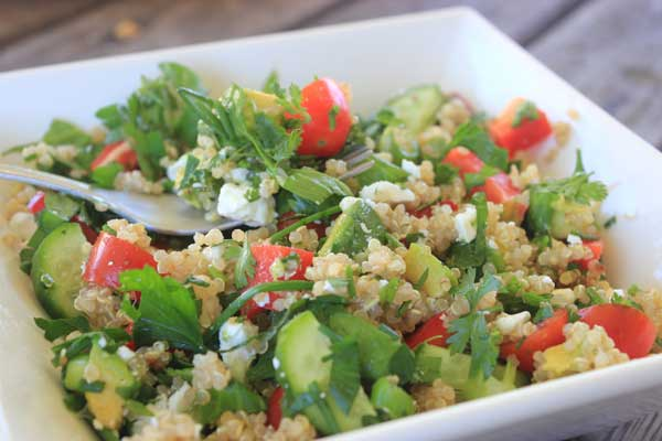 Lemon Quinoa Salad with Herbs and Feta
