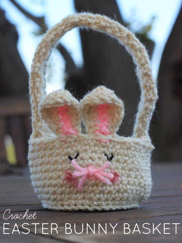 Free Crochet Pattern Easter Bunny Baskets Veggie Mama
