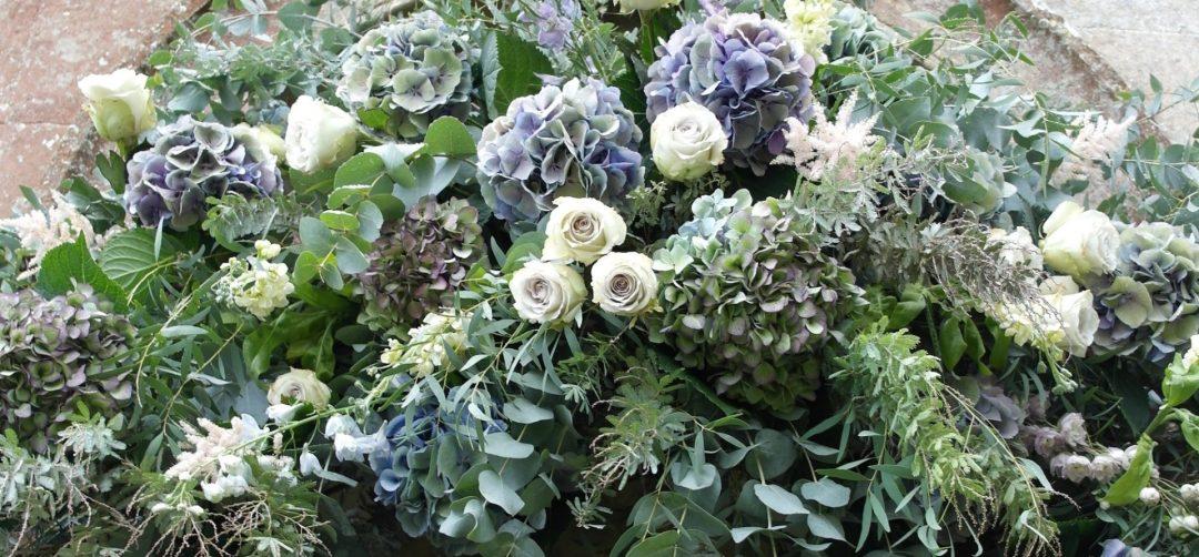 Green and purple wedding flowers