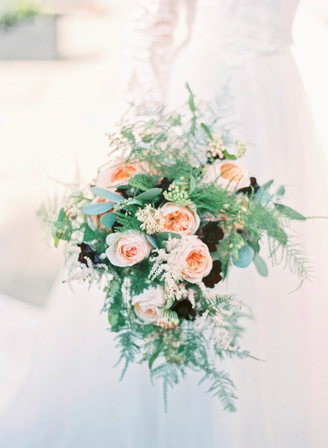 Elegant peach coloured wedding flowers
