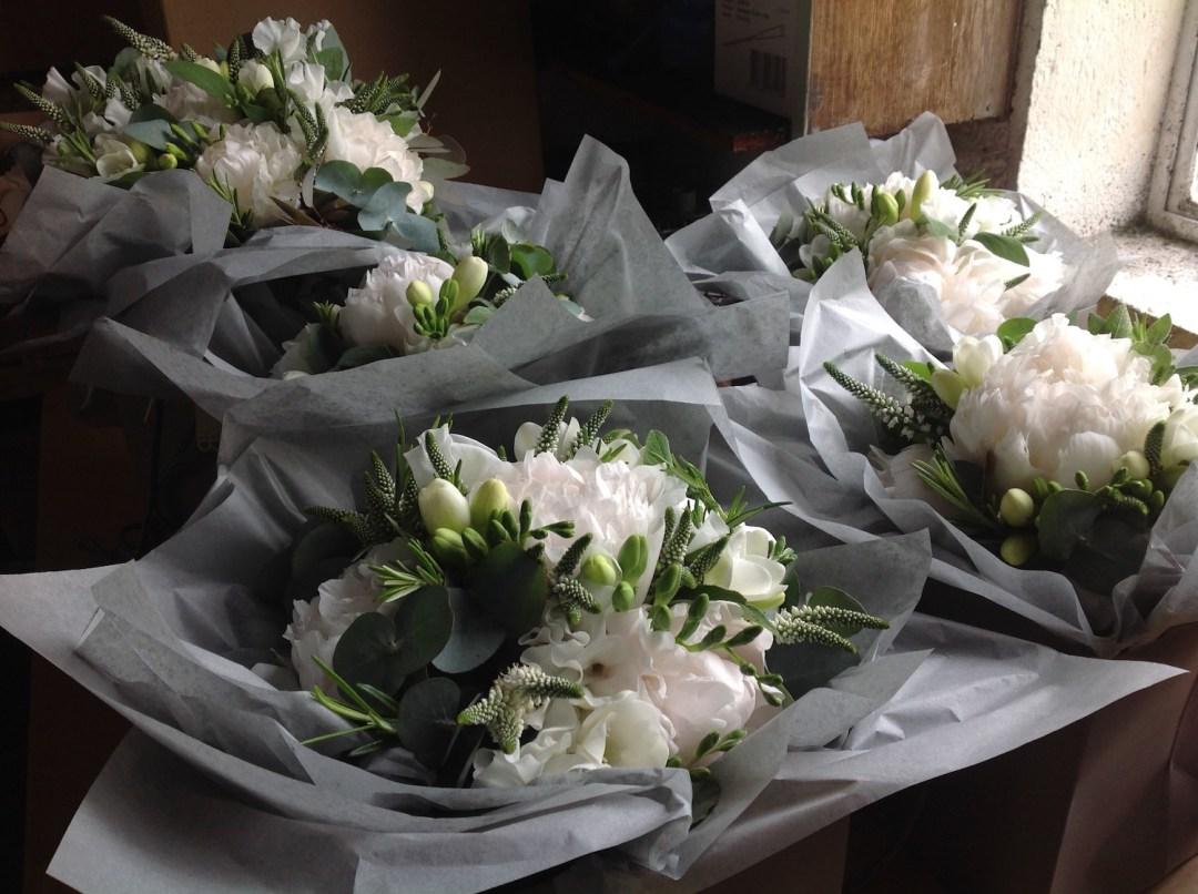 White and green wedding flower design