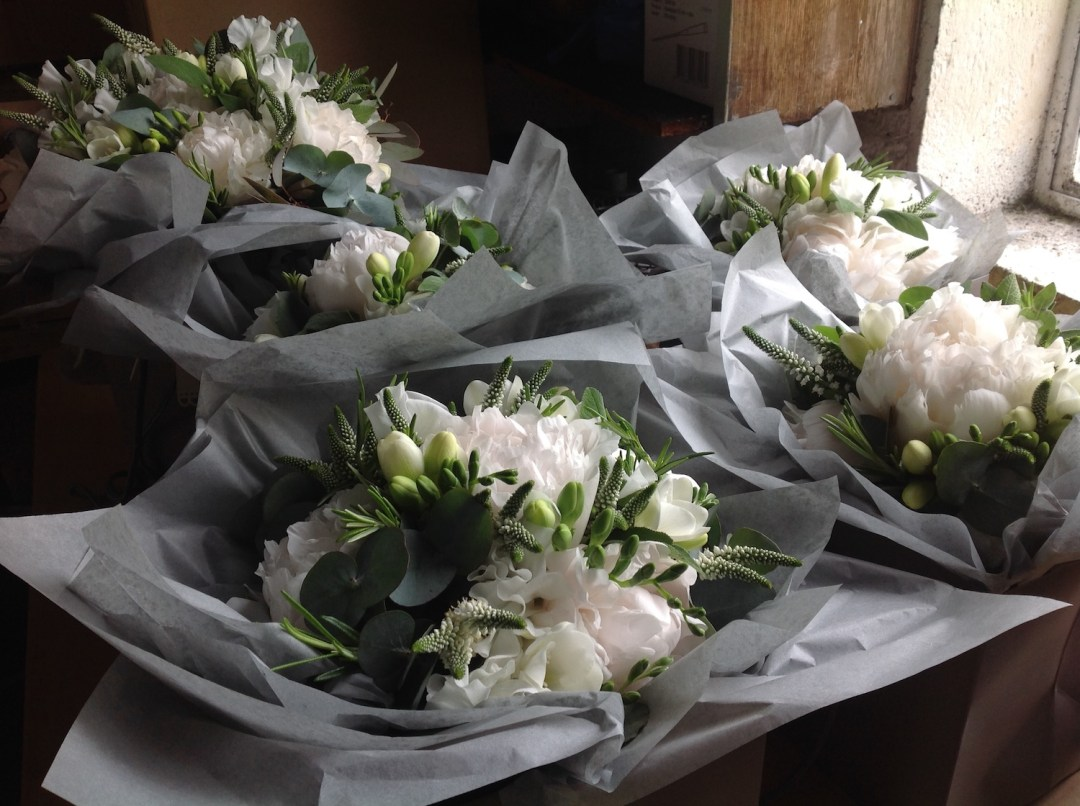 White and green wedding flower design