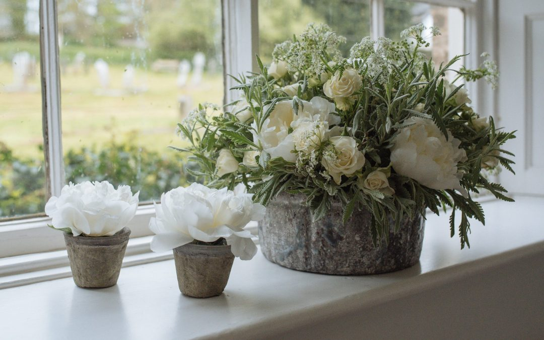 white peonies devon wedding flowers
