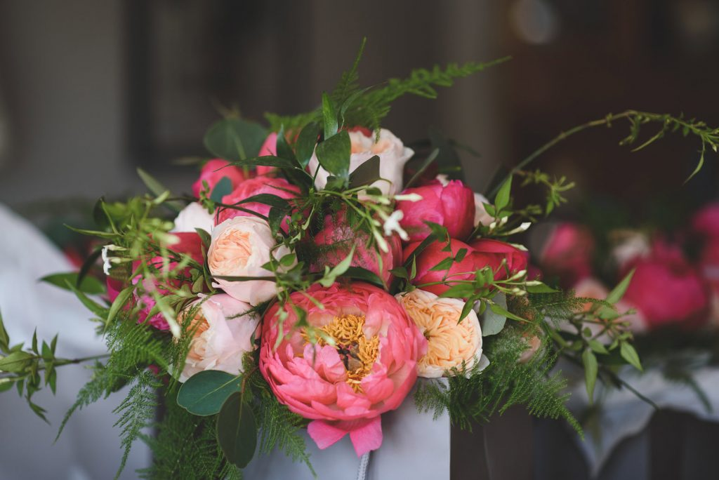 Devon wedding flowers coral pink peony bouquet