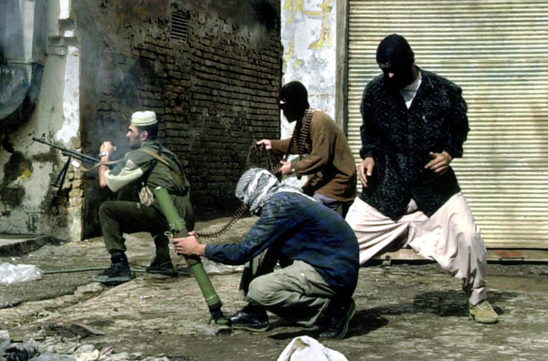 Iraqi insurgents in action