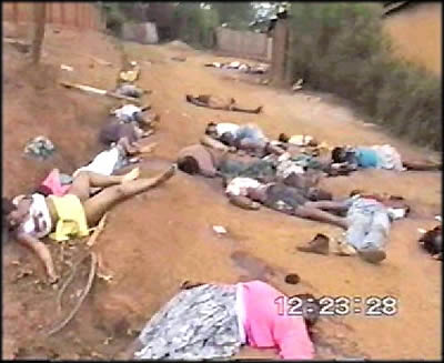 Bodies from the Rwandan genocide of 1994