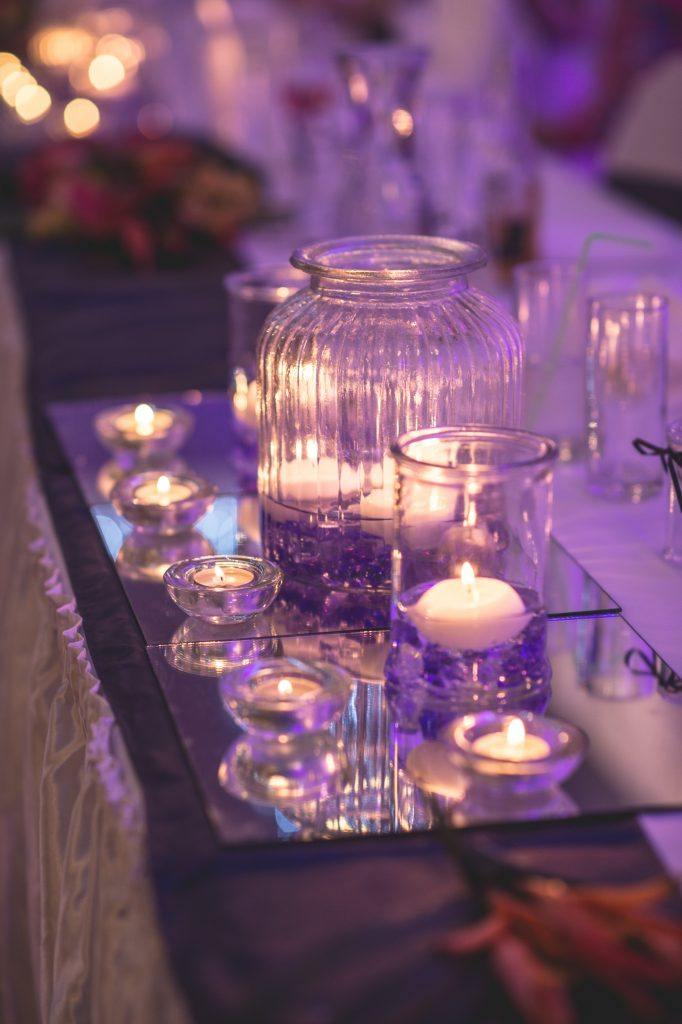 bridal table; purple wedding; floating candles; fannie bay