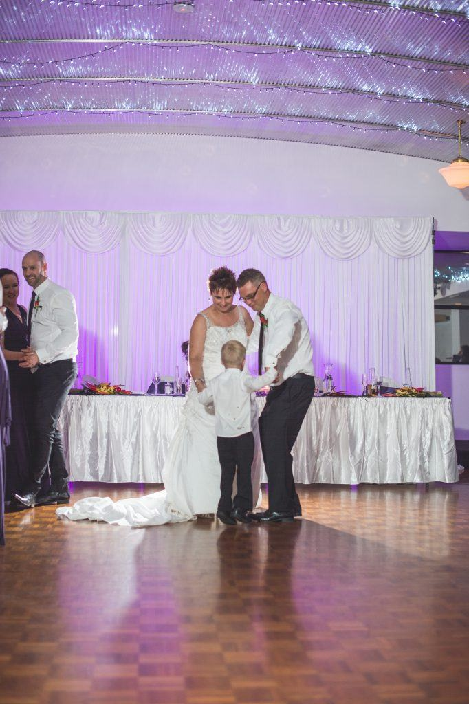 bride and groom; first dance; kid friendly; dancefloor; fannie bay