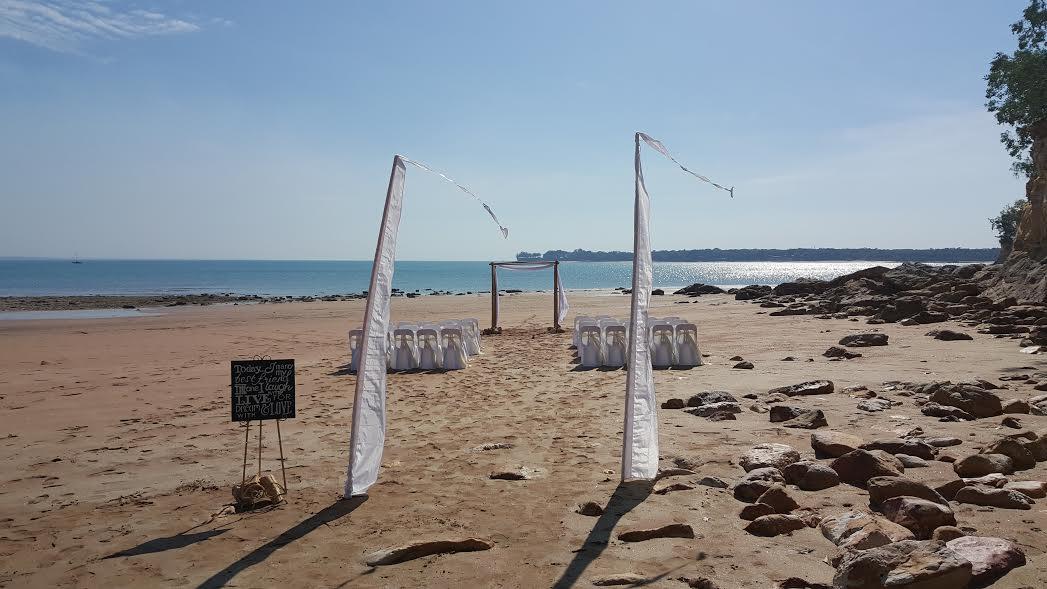 bali flags; beach wedding; barefoot bride; wedding signage; fannie bay; darwin
