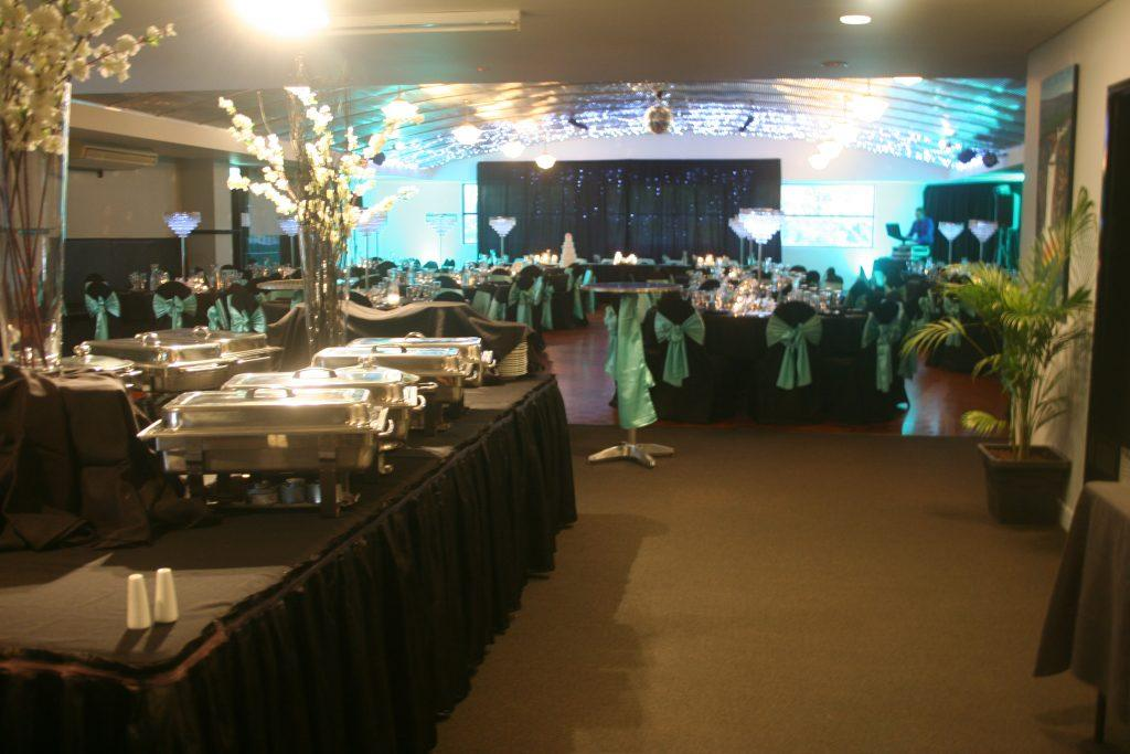 black and turquoise wedding; buffet; catering; foyer area; fannie bay