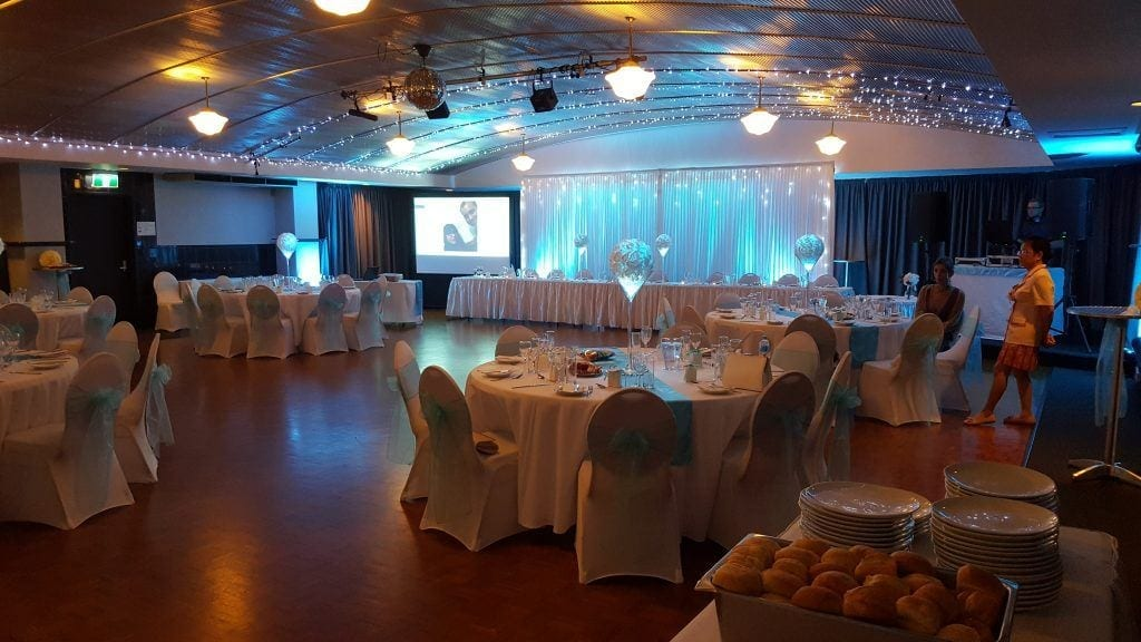 tiffany blue; round tables; small wedding; intimate; rose balls; fannie bay
