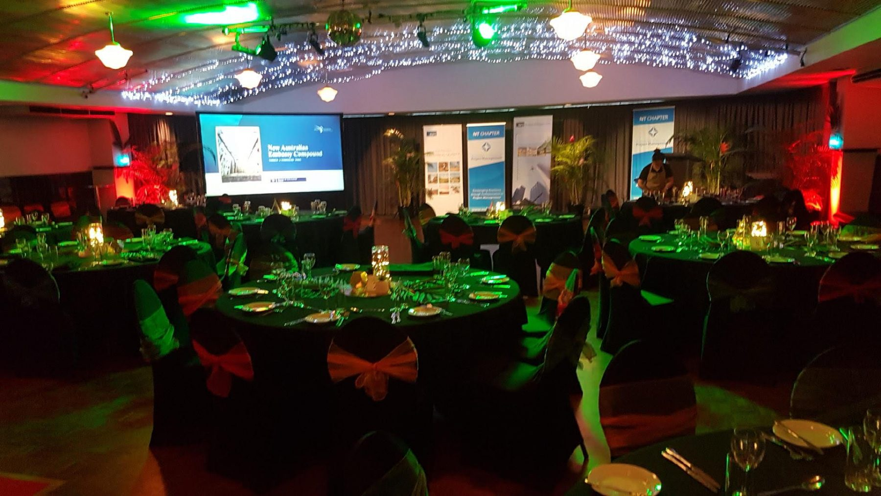 Gala award night; tropical theme; big screen; sponsorship banners; fannie bay