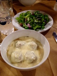 The main course... a kind of meatball soup and greek salad