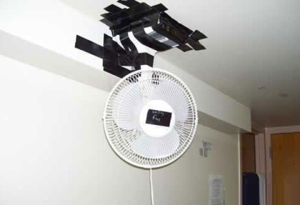 Desk fan used as a ceiling fan